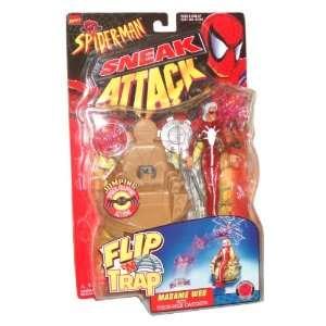1998 Spider Man Sneak Attack Flip N Trap 6 Inch Tall Action Figure