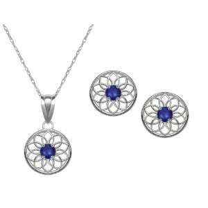 Birthstone, Lab Created Sapphire Floral Disc Earring and Pendant Set