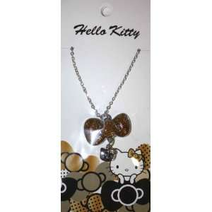 Hello Kitty Necklace Silver tone Gold Charm Pendant Glitter Bow Bling