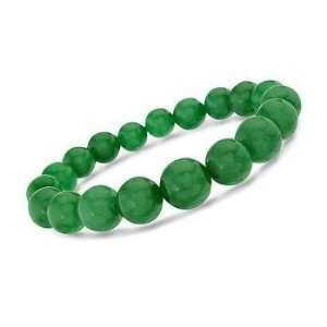 Graduated Green Jade Bead Stretch Bracelet. 7.5 Jewelry