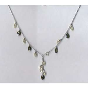 Green Peridot/Olive CZ Briolette Y Silver Necklace With