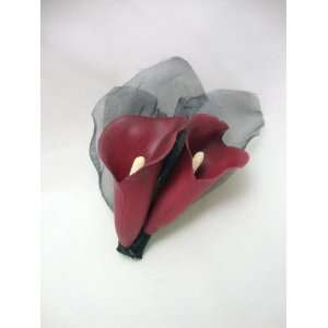 Burgundy and Black Calla Lily Hair Flower Clip Everything