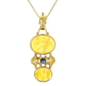 Gold Yellow Venetian Cameo and Blue Sapphire Pendant, 18 Jewelry
