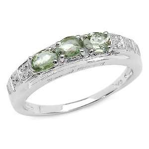 0.75 Carat Genuine Green Sapphire & Diamond Sterling