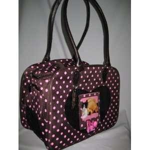 Fashion Pet Carrier ~ Black w/ Pink Dots Travel Tote