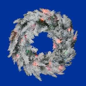 Lit Flocked Alaskan Artificial Christmas Wreath   Multi Dura Lights
