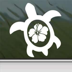 SEA TURTLE WITH HIBISCUS FLOWER White Sticker Laptop Vinyl