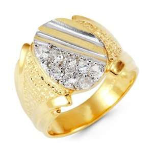 Mens 14k Yellow White Gold Round CZ Crown Cut Ring Jewelry
