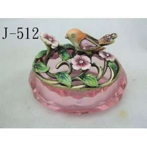 Glass Jewelry Trinket Box W Crystal Bird and Flowers Home & Kitchen
