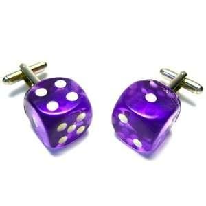 Purple Glow In The Dark Dice Cufflinks Jewelry