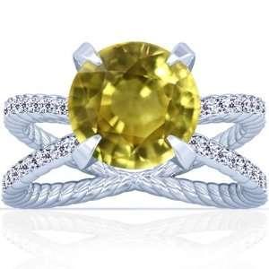 Platinum Round Cut Yellow Sapphire Ring With Sidestones Jewelry