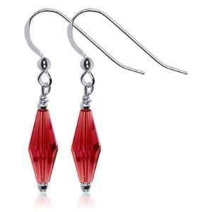 Sterling Silver Cute Red Crystal Earrings Made with Swarovski Elements