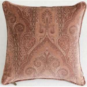 Paisley Cotton Velvet Cushion Pillow Cover 17/18   Brown