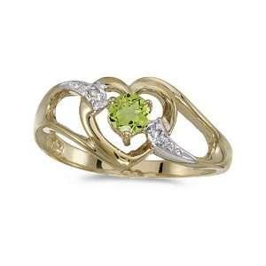 10k Yellow Gold Round Peridot And Diamond Heart Ring (Size 7) Jewelry