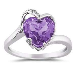 Heart Shaped Amethyst and Diamond Curve Ring in 14K White