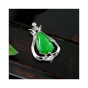 Quality Elegant Jade Pendant with Diamond and 18K White Gold Necklace