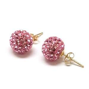 9ct Yellow 9mm Pink Glitter Disco Ball Crystal Earrings Jewelry