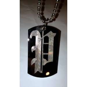 Letter P OLD English Font Initial   Military Dog Tag