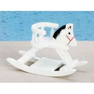 Dollhouse Miniature White Rocking Horse