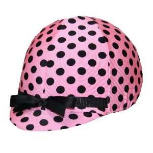 Equestrian Riding Helmet Cover   Light Pink & Black Polka