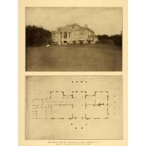 1909 Mansion Pembroke Jones Newport Floor Plan Print