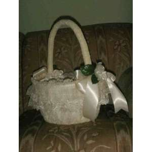 Flower Girl Wedding Basket Ivory Satin Pearl Handle