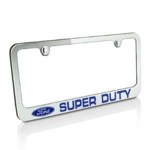 Ford Blue Super Duty Chrome Metal License Plate Frame