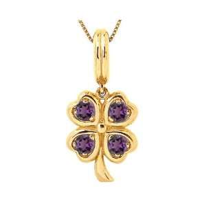 14K Yellow Gold LucK y Charm Four Leaf Clover Pendant Amethyst , Chain