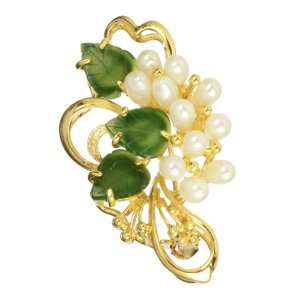 Gold Plated with Freshwater Pearl, Jade Leaves Berry Pin Jewelry