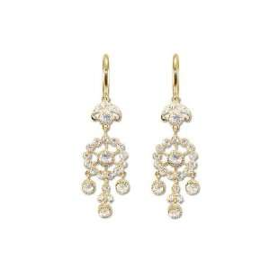 14k Yellow Gold, Chandelier Dangling Earring Lab Created Gems Jewelry