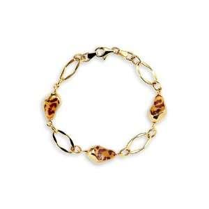 14k Yellow Gold Cheetah Leopard Print Charm Bracelet Jewelry