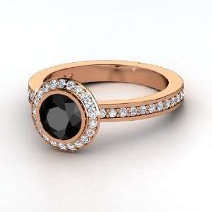 Roxanne Ring, Round Black Diamond 14K Rose Gold Ring with