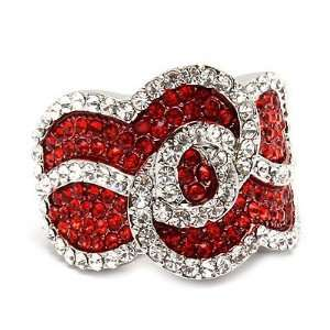 Chic Crystal Rhinestone Stretch Adjustable Cocktail Ring Silver Red