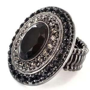 Black and Smokey Crystal Stretch Ring West Coast Jewelry Jewelry
