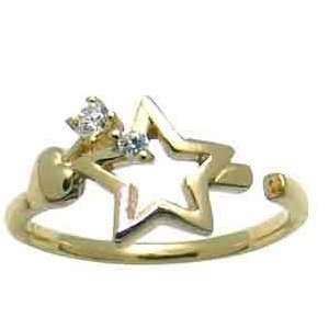 Stars & Hearts 14k Yellow Gold Adjustable Womens Toe Ring Jewelry