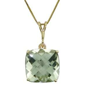 Gold Pendant Necklace Genuine Checkerboard Cut Green Amethyst Jewelry