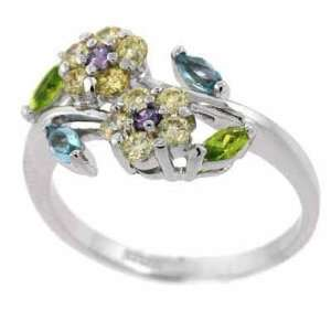 , Lavender, Light Blue, and Green cubic zirconia Flower Ring Jewelry