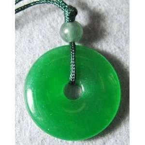 Genuine Green Jade Circle Bi Bead Pendant Necklace