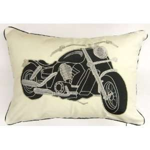 HARLEY DAVIDSON MOTORBIKE BIKE EMBROIDERED BLACK CREAM CUSHION COVER
