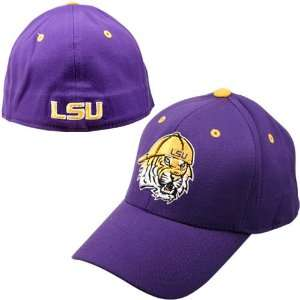 of the World LSU Tigers Purple Mascot Head 1Fit Hat: Sports & Outdoors