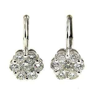 2.00 ct White Gold Diamond Fashion Earrings 14 K Jewelry