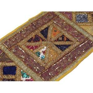 Yellow Indian Wall Decor Home Accent Sequin Tapestry Cotton Textile