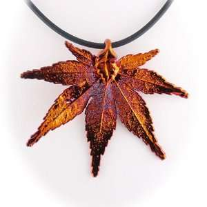 Japanese Maple Real Leaf, Irridescent Copper Plated, Rubber Cord