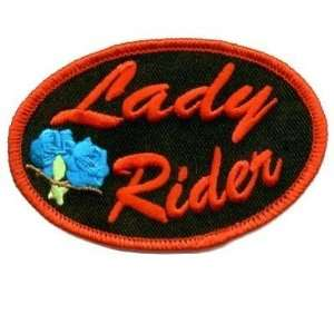LADY RIDER Oval RED With Rose Biker Ladies Vest Patch