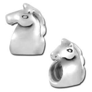 13mm Horse Head Large Hole Bead   Rhodium Plated Arts