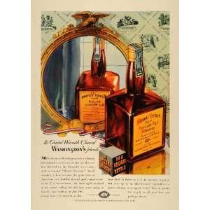 1937 Ad Mount Vernon Rye Whiskey Liquor Square Bottle   Original Print
