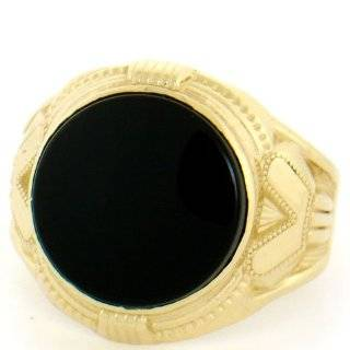 10K Gold Nugget Onyx Tiger Eye Mother of Pearl Men Ring Jewelry
