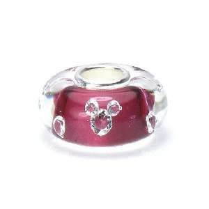 Pink & Clear Crystal Murano Glass Sterling Silver European Bead Charm