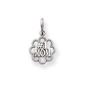 14k White Gold Antiqued #1 Mom Charm [Jewelry]