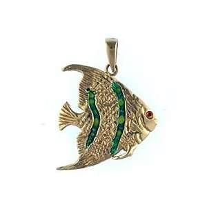 Reyes del Mar 14K Gold Angelfish Nautical Pendant